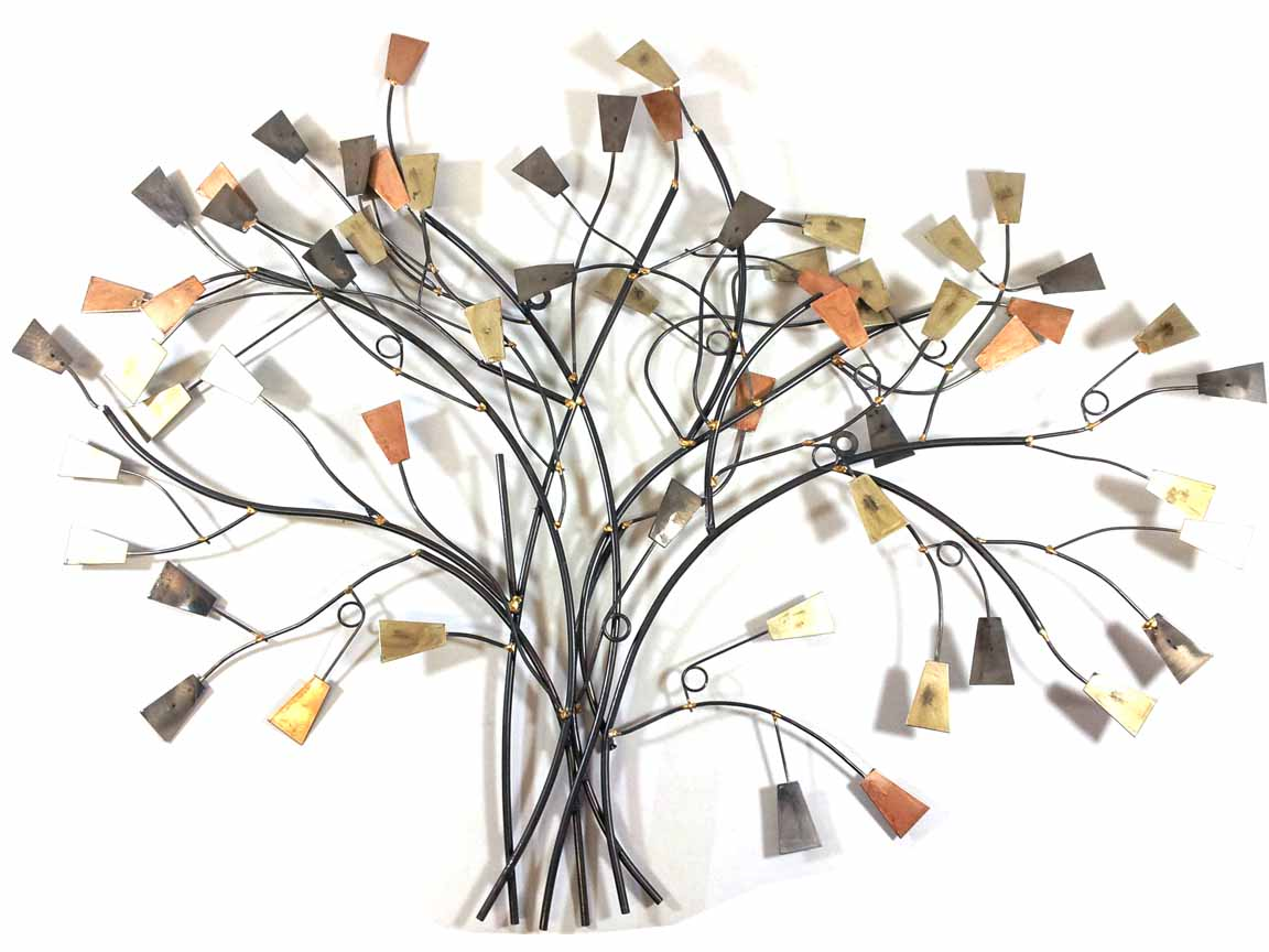 Metal Wall Art - Metallic Abstract Leaf Tree Branch