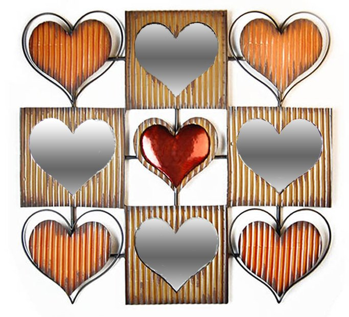 new contemporary metal wall art decor sculpture mirror heart square abstract ebay. Black Bedroom Furniture Sets. Home Design Ideas