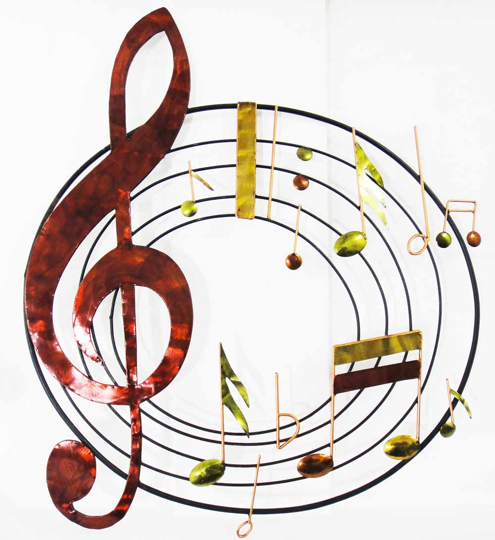 Metal Wall Art - Music Circle Scroll