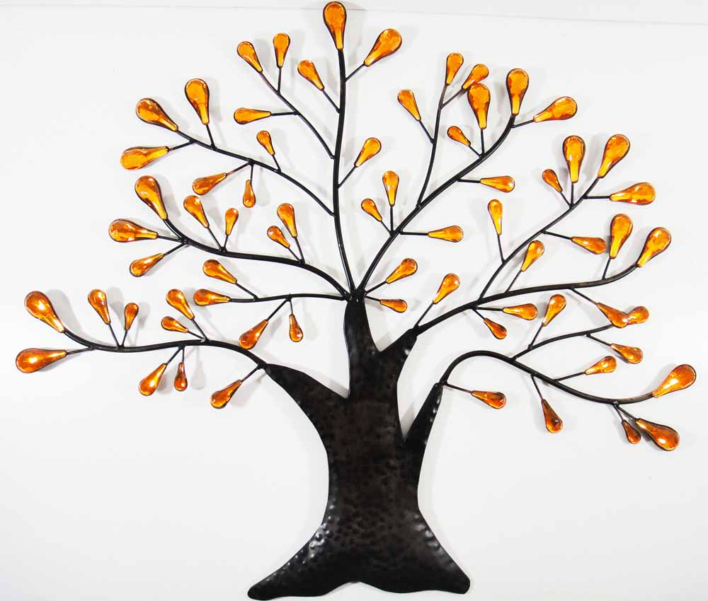 metal wall art orange jewel oak tree
