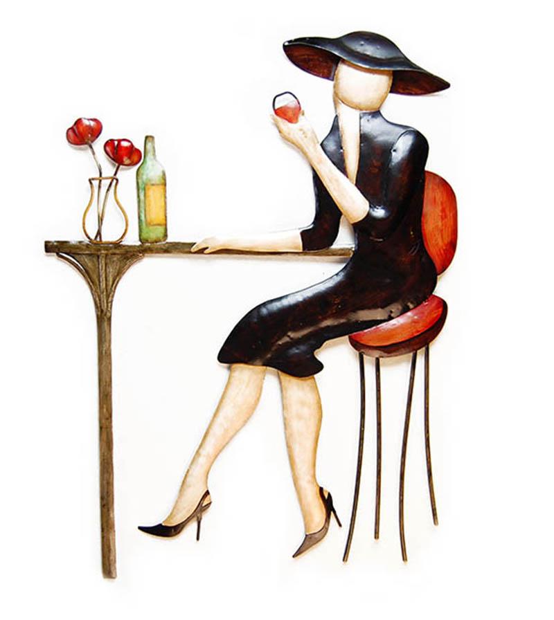 metal wall art paris lady wine bar. Black Bedroom Furniture Sets. Home Design Ideas
