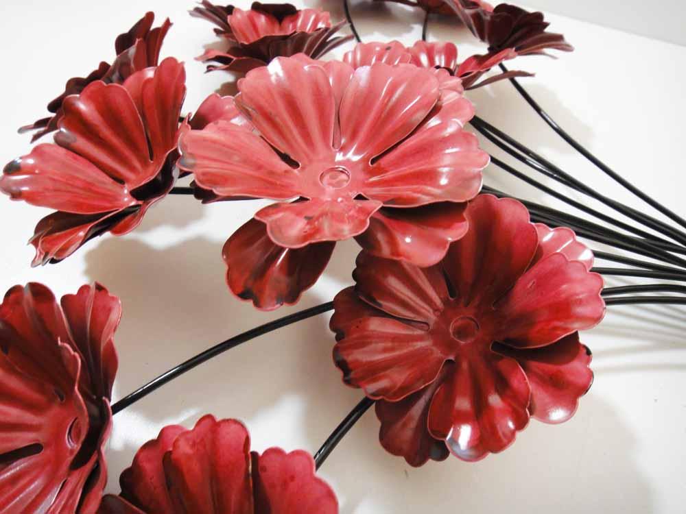 Wall Art Red Flower : New contemporary metal wall art decor or sculpture