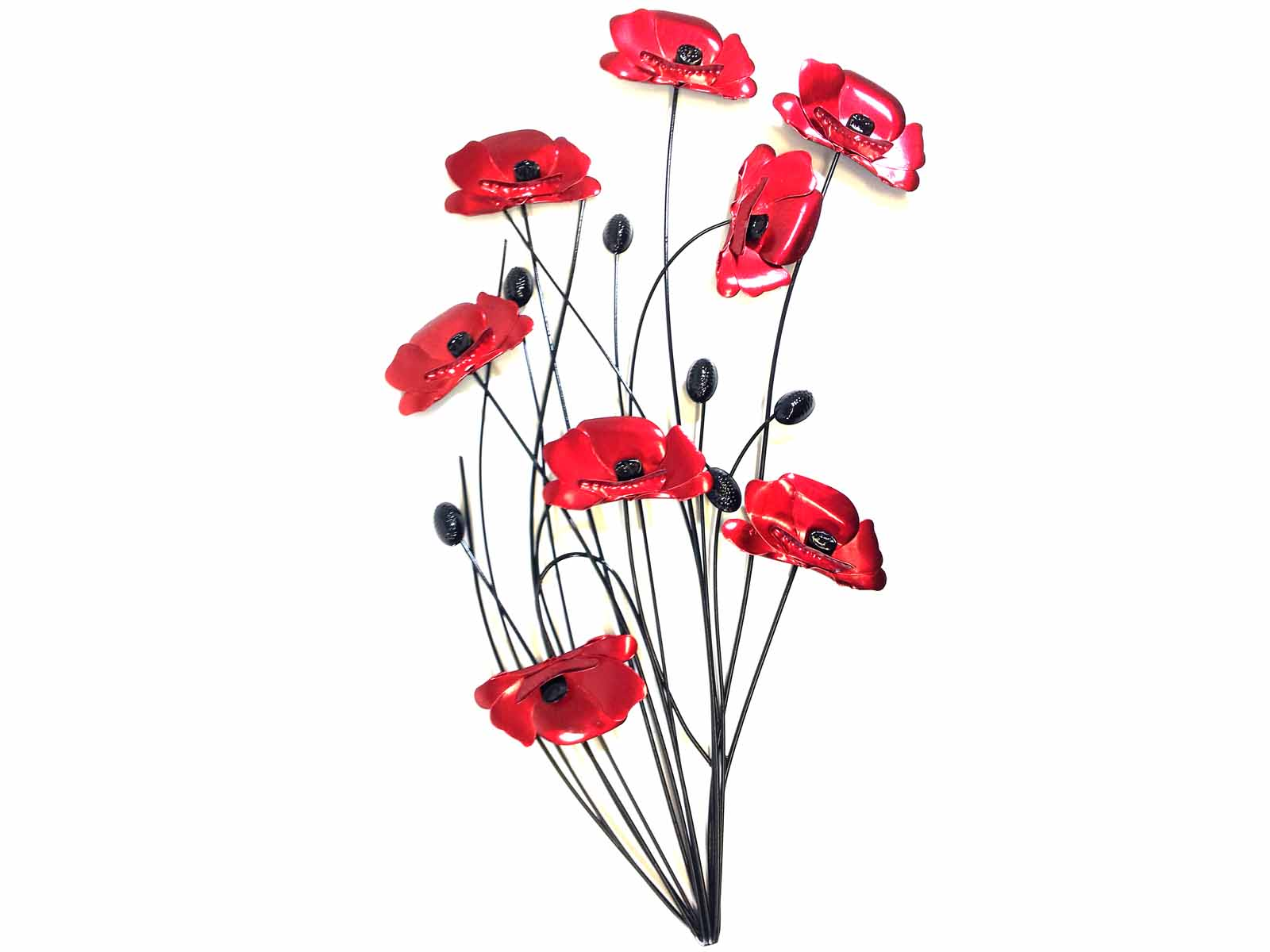 Red And Black Metal Wall Art Metal Wall Art  Poppy Flower Bunch Black Stems