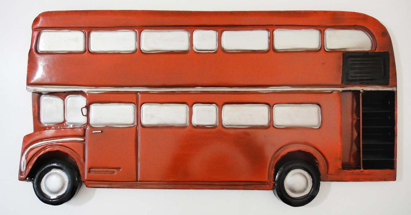 Metal Wall Art - Red Double Decker London Bus