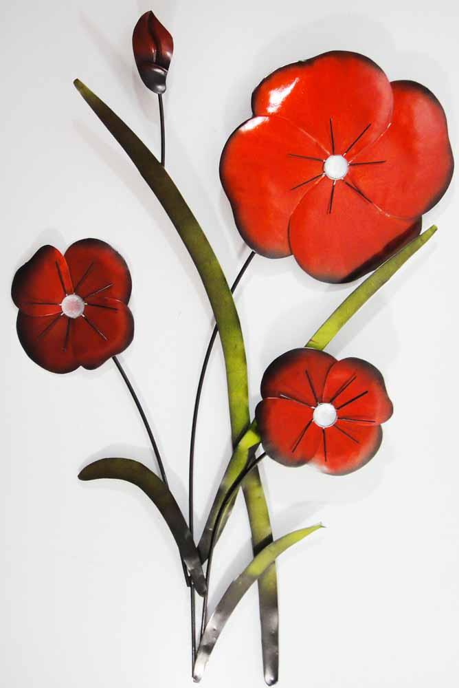 Wall Art Red Flower : Metal wall art red poppy flower trio