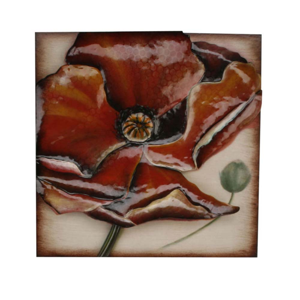 Metal Wall Art - Red Poppy Plaque