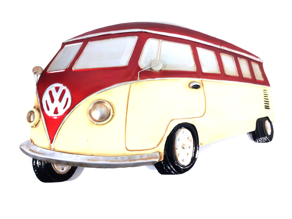 Metal Wall Art - Red VW Campervan