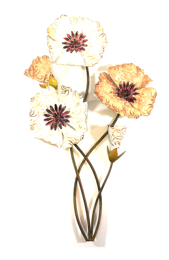 Metal Wall Art - Rustic Blooming Flower Bunch