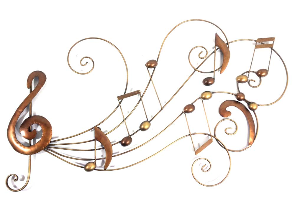 Metal Wall Art Bronze Music Notes Swirl