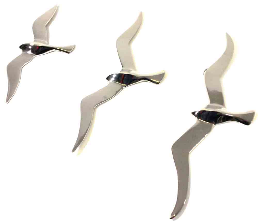 Metal Wall Art - Set Of 3 Large Flying Seagulls