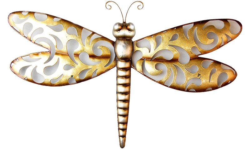 Metal Wall Art - Shabby Chic Champagne Dragonfly