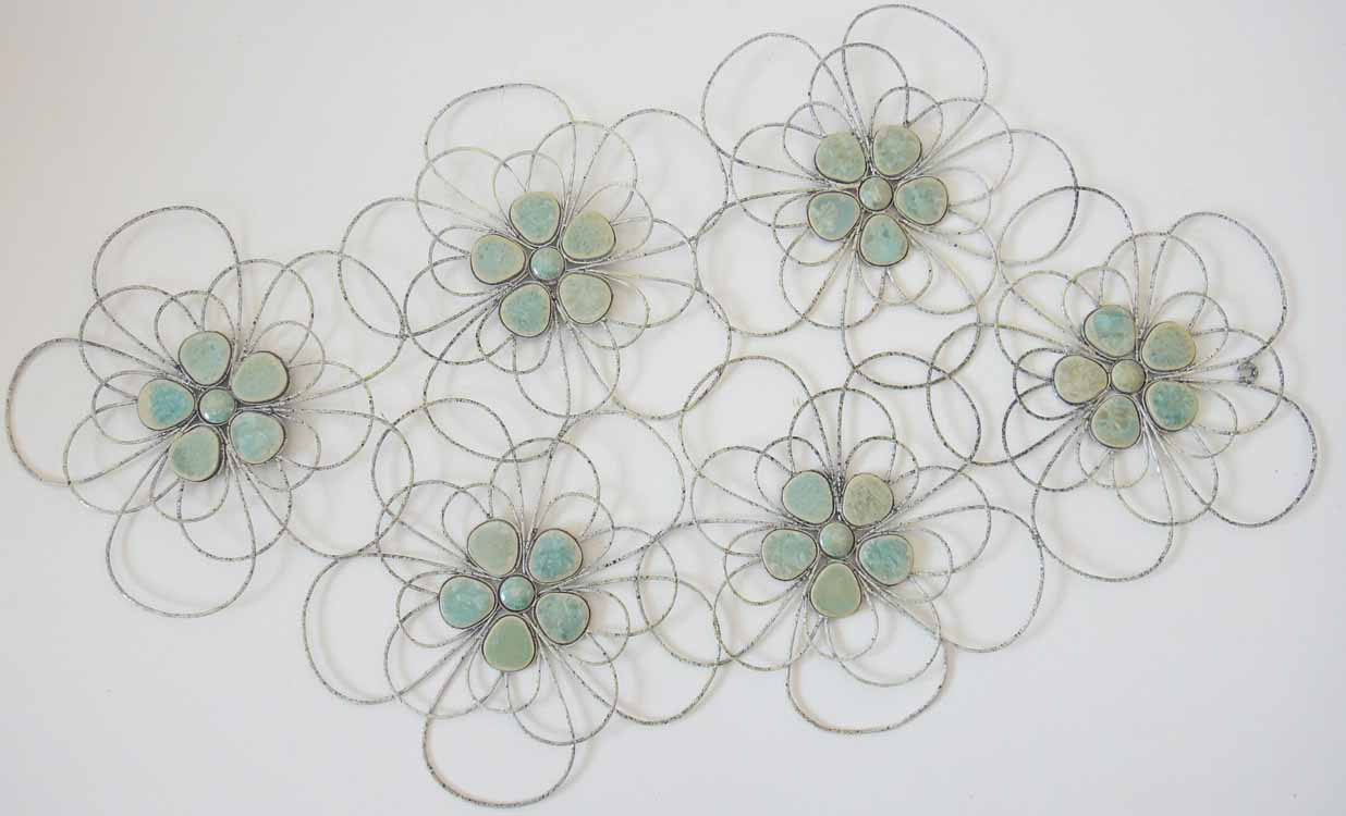 metal wall art decor or sculpture shabby chic flower cluster
