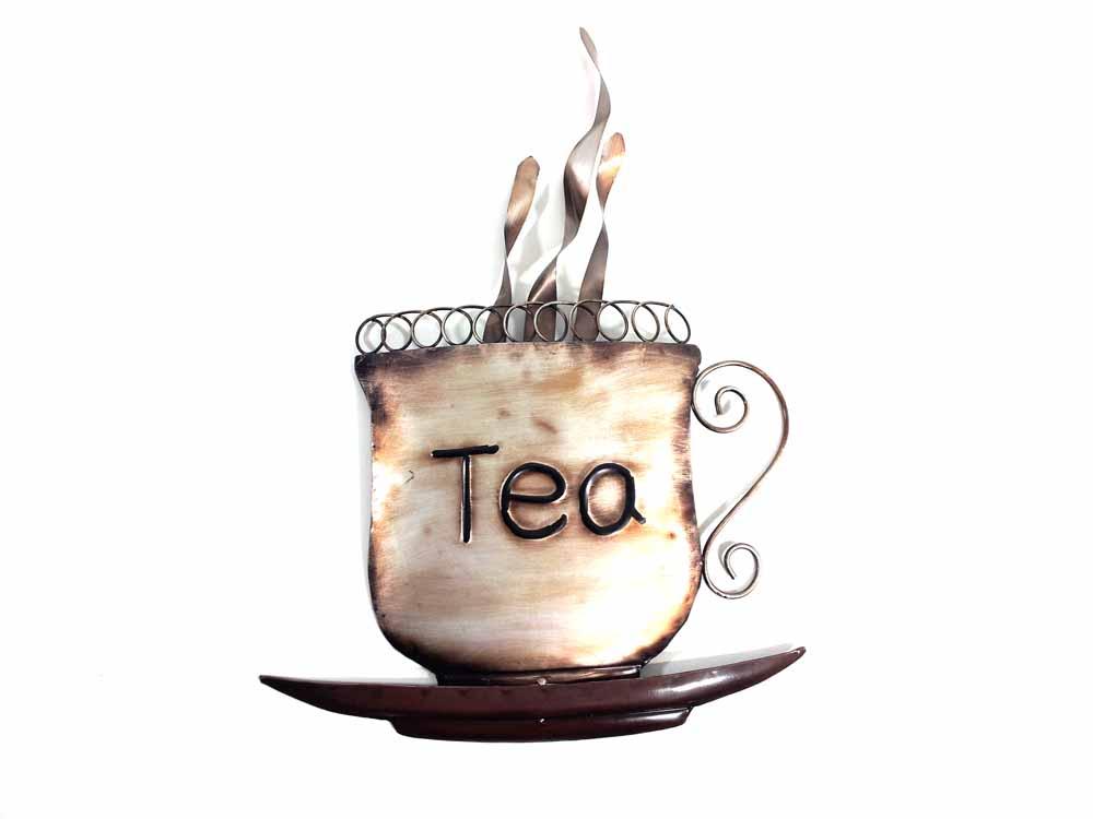 Metal wall art steaming tea cup for Tea and coffee wall art
