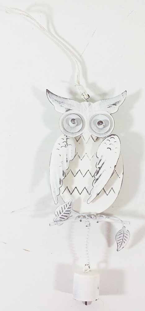 Metal Wall Art - Shabby Chic Wise Owl Bell