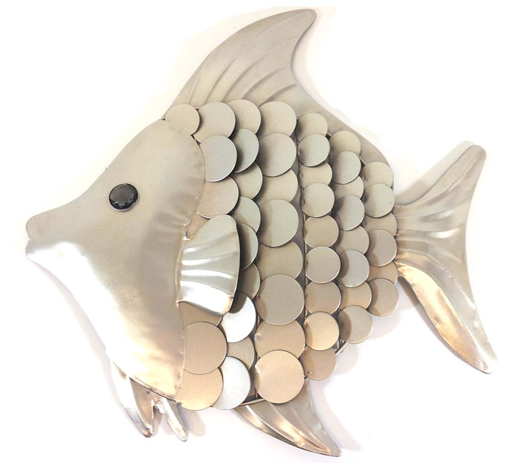 Metal wall art shimmering fish for Metal fish art wall decor