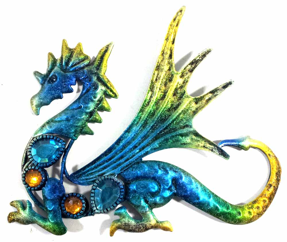 Metal Wall Art Small Baby Dragon Blue