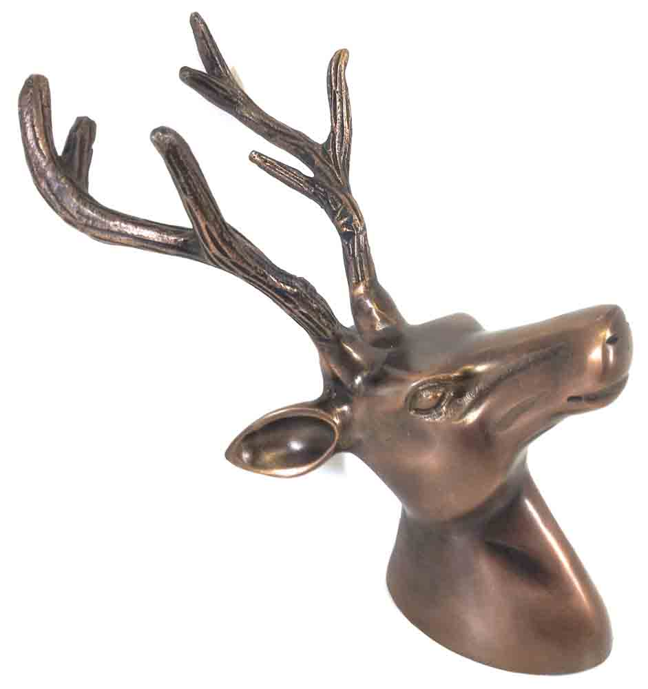 Metal wall art small bronze deer stag head for Bronze wall art