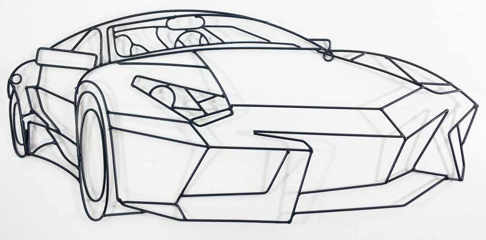 Metal wall art sports car outline for Decor outline