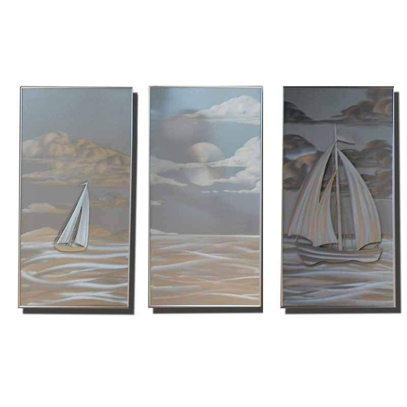 Wall Art Metal Panels : New contemporary metal wall art silver tranquil waters
