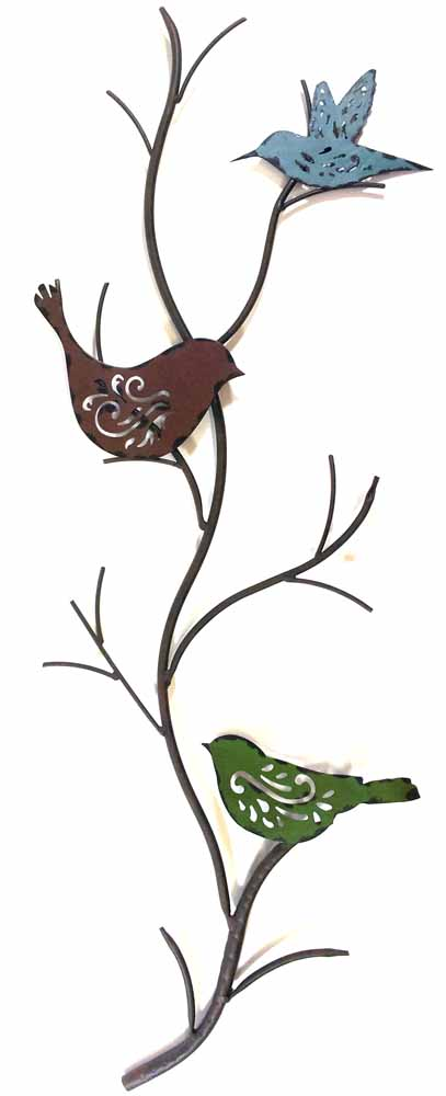 Metal Wall Art - Vintage Bird Stem
