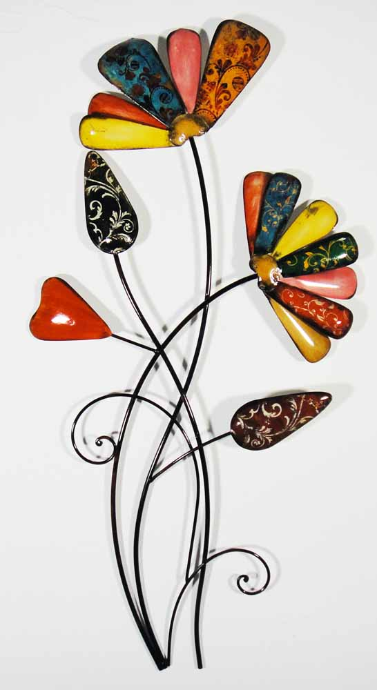 Metal Wall Art - Vintage Colour Flower Bunch