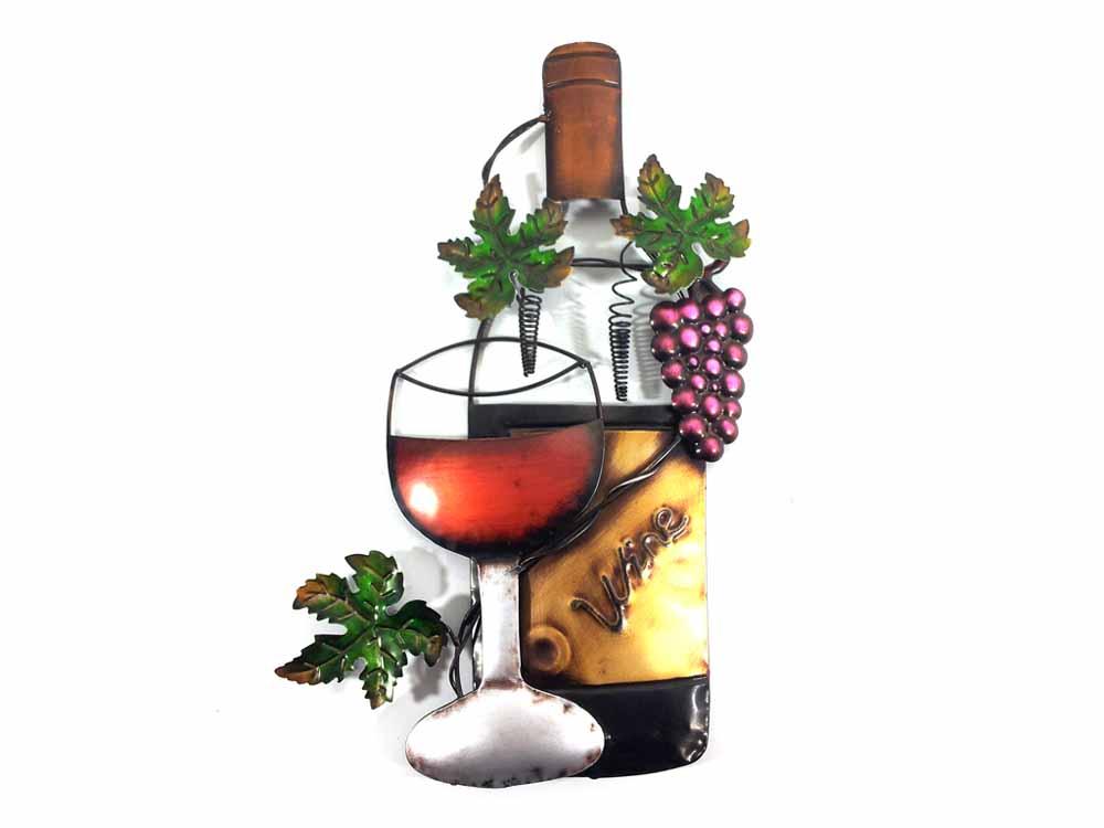 Wall Decor Wine Glasses : Metal wall art wine glass bottle and purple grape