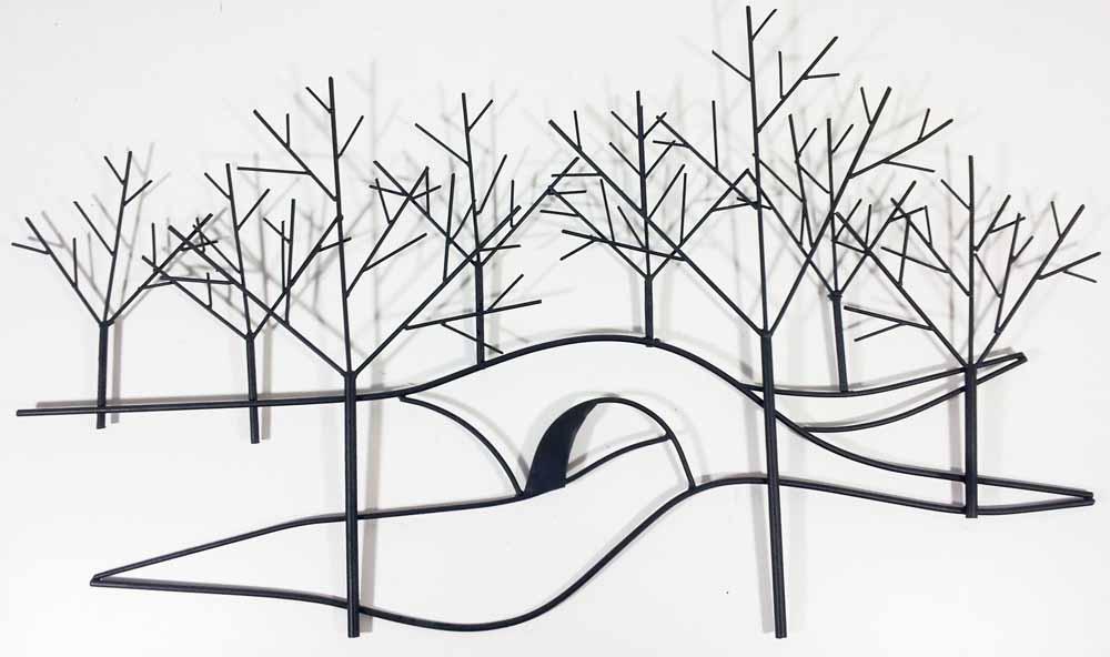 metal wall art winter tree bridge scene : tree scene metal wall art