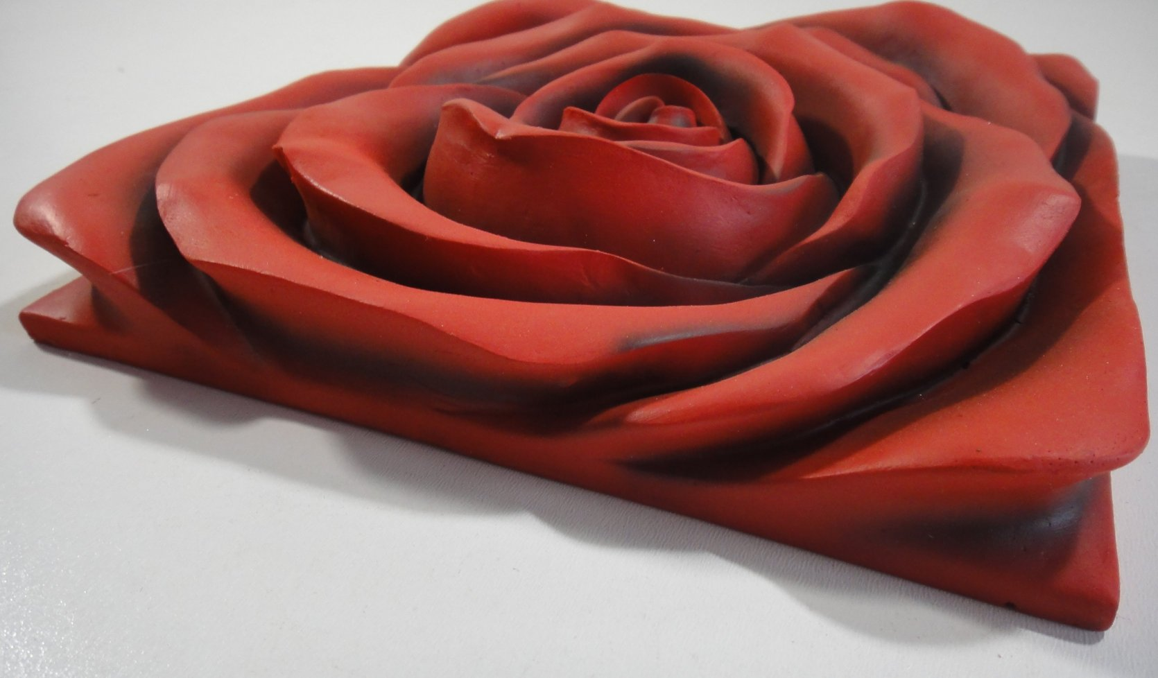 Resin wall art red rose in bloom 4 panel set for Resin wall art