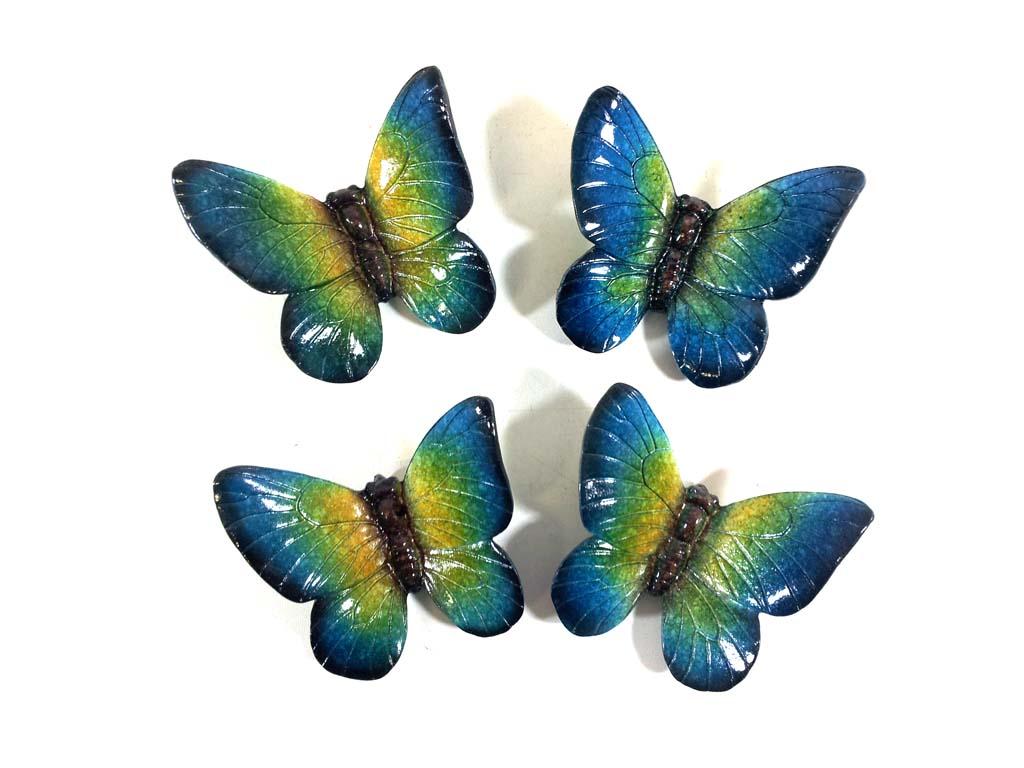 Resin wall art set of 4 blue butterflies for Resin wall art