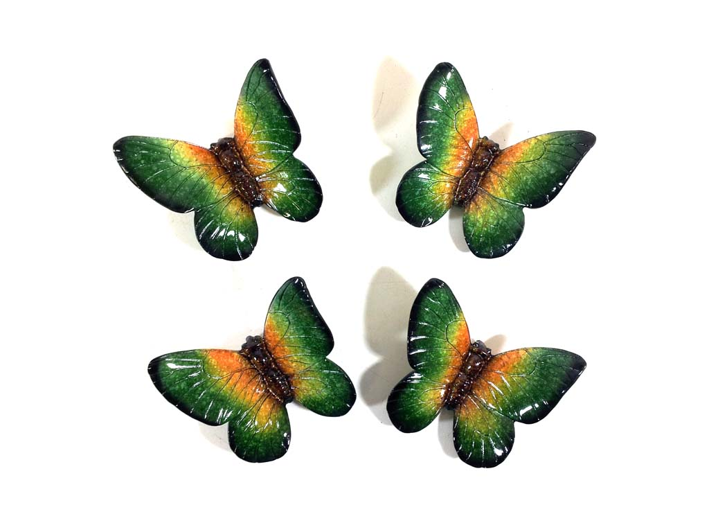 Resin Wall Art - Set Of 4 Green Butterflies