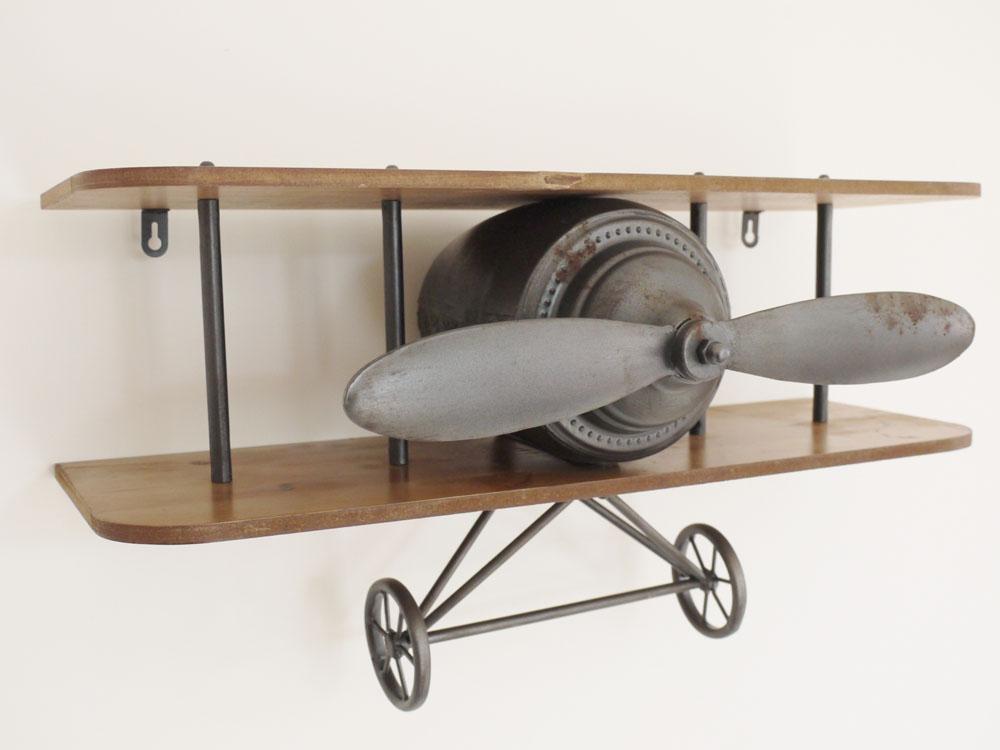 Wooden Airplane Wall Decor : Retro industrial vintage aeroplane wall shelf