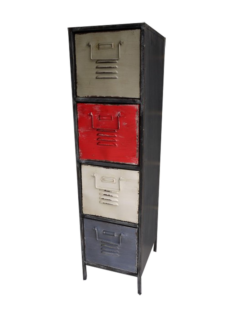 Tall Industrial Metal Cabinet 4 Drawer