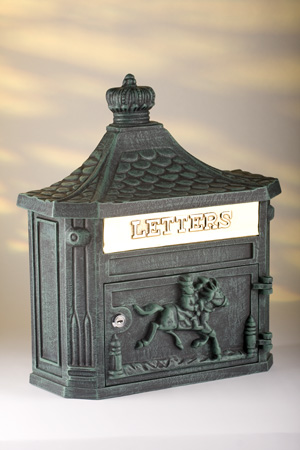 Vintage Green Wall Post Box - Horse Design