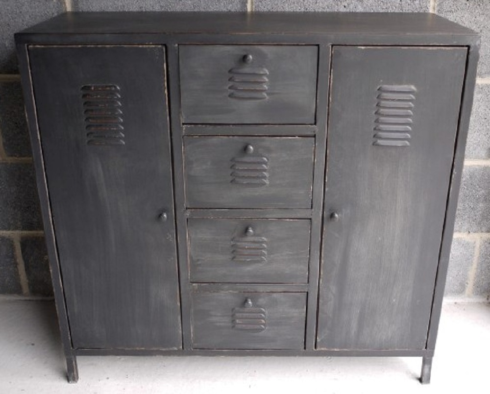 Vintage Grey Industrial Home Sideboard Storage Unit
