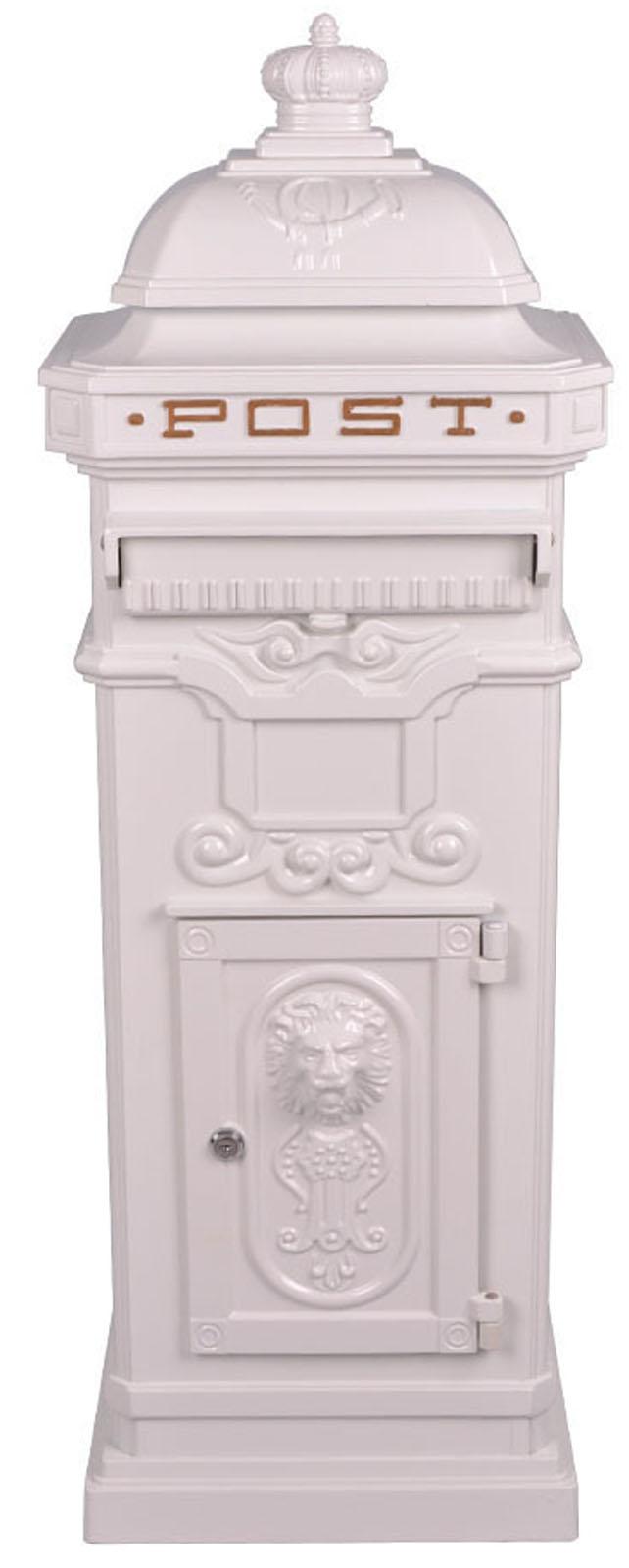 Vintage White Grand Pillar Post Box