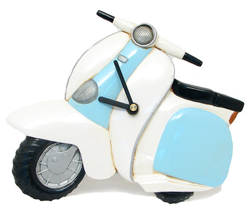 Wall Clock - Blue White Scooter