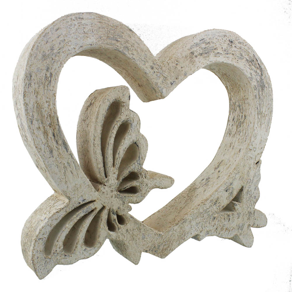 Wood Sculpture - Butterfly Heart