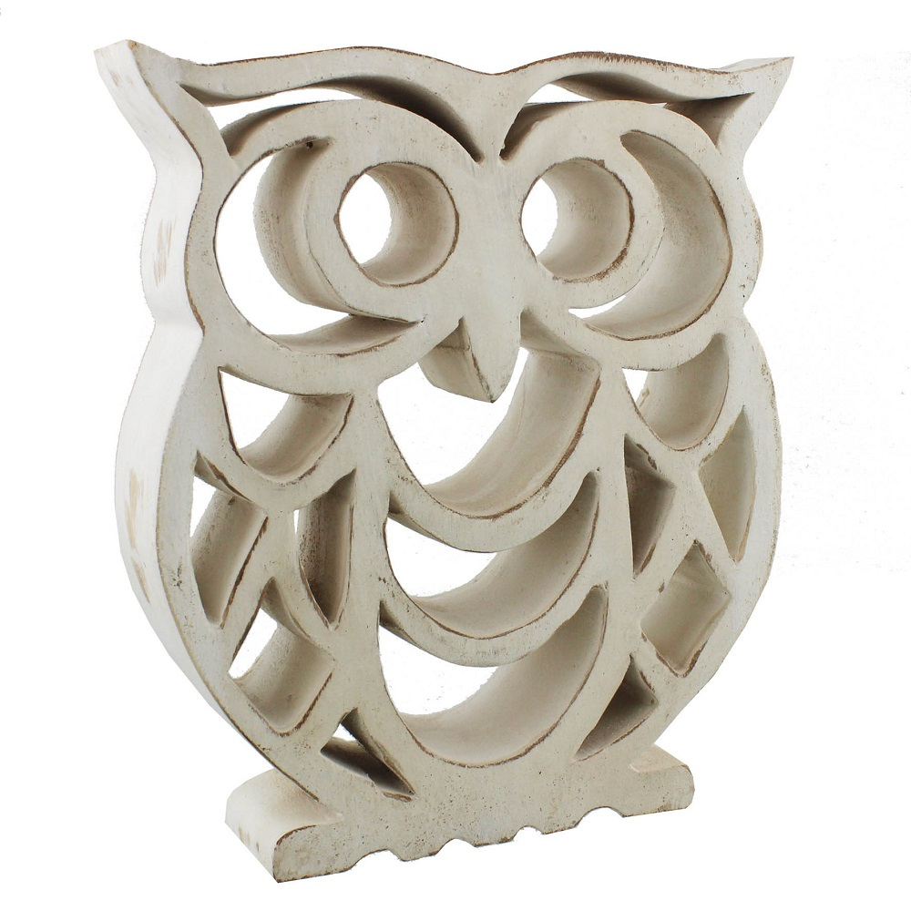 Wood Sculpture - Shabby Chic Owl