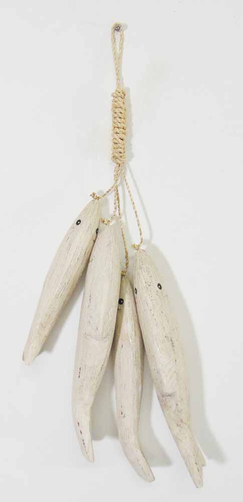 Wood Wall Art - Shabby Chic 4 Hanging Fish