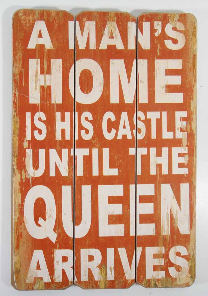 Wooden Wall Art - A Man's Home Sign Red