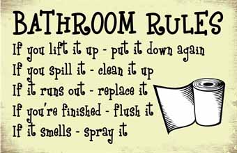 Wooden Wall Art - Bathroom Rules Sign Small