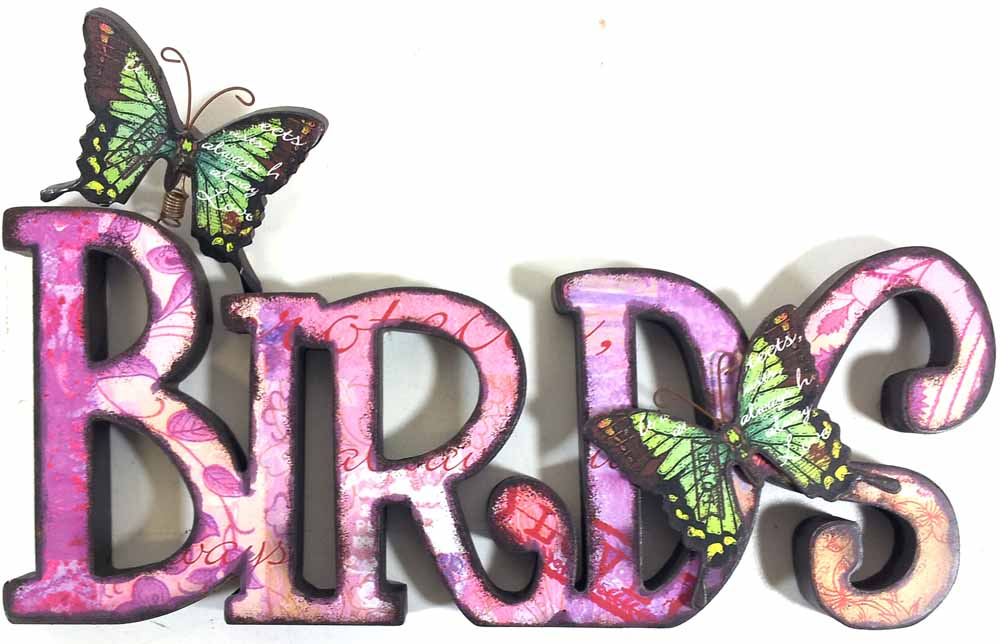 Wooden Wall Art - Birds Sign