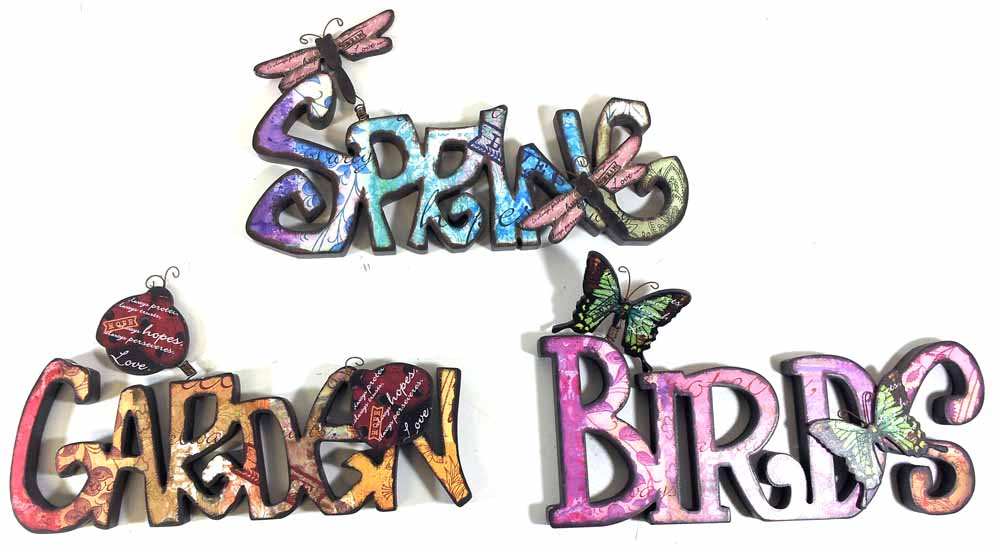Wooden Wall Art - Set Of 3 Graffiti Signs