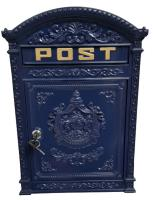 Cast Metal Wall Mounted Post Box - Blue