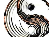 Large Ying And Yang Stainless Steel Wind Spinner With Crystal Balls