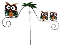 Metal Garden Wind Vane Spinner - Owl Family Design