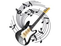 Metal Wall Art - Electric Guitar Music Swirl