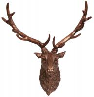 Metal Wall Art - Large Ruffle Stags Head - Copper