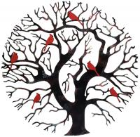 Metal Wall Art - Round Tree and Bird Family Design