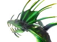 Small Green Metal Winged Dragon Statue